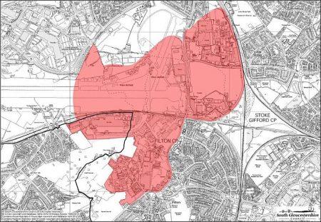 Map showing boundary of the Filton Enterprise Area, Bristol.