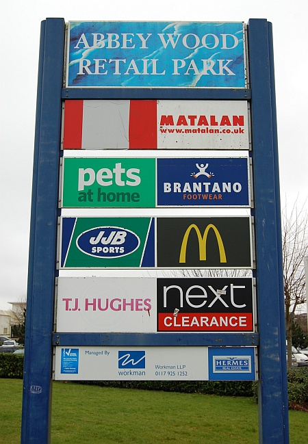 Signpost at the Abbey Wood Retail Park, Filton, Bristol