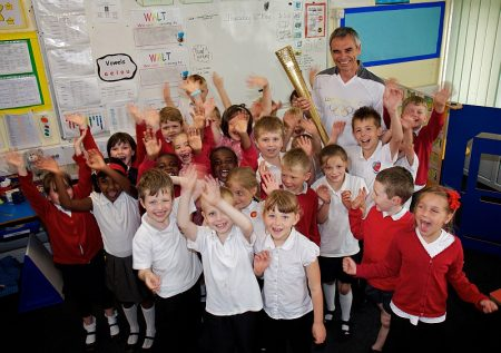 Olympic torchbearer Malcolm Carr at Filton Hill Primary School.