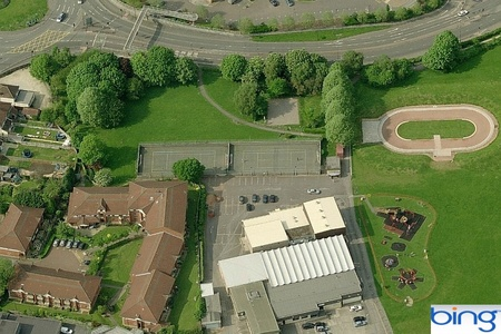 Aerial view of the tennis courts in Elm Park, Filton, Bristol.