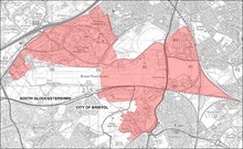 Map showing boundary of the Filton Enterprise Area, Bristol.