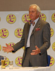 Neil Hamilton addresses a UKIP meeting at the Aztec Hotel in Bristol.