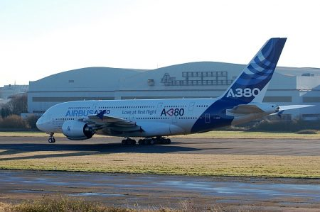 Final landing of an Airbus A380 at Filton Airfield.