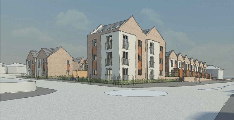 Artist's impression of proposed new homes on the site of Filton Police Station.