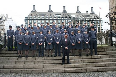 Cadets from 2152 (North Bristol) Squadron meet Jack Lopresti MP at Parliament.