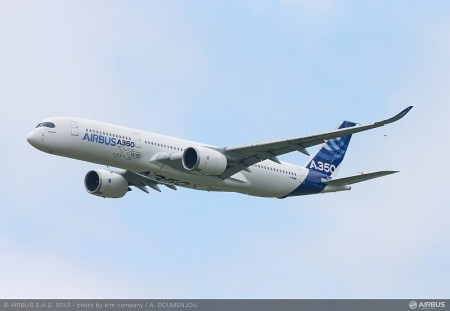 First flight of the Airbus A350 XWB from Toulouse on 14th June 2013.