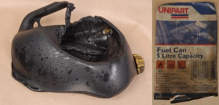 Petrol can used in Kipling Road suspected arson attack (Filton, Bristol).