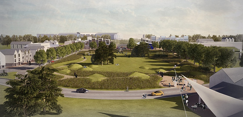Artist's impression of the central park at the former Filton Airfield site.
