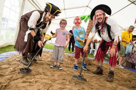 Pirates Cain (6) and Leeloo Vigurs (4) at the Merlin Housing Society's Summer Fun Day in Elm Park, Filton, Bristol.