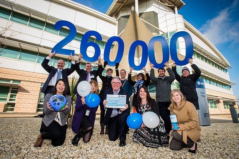 Delighted Airbus charity fundraisers announce that their efforts for the Alzheimer's Society have topped a quarter of a million pounds. Centre, Jon Bodenham - Director of Fundraising, Alzheimer's Society.
