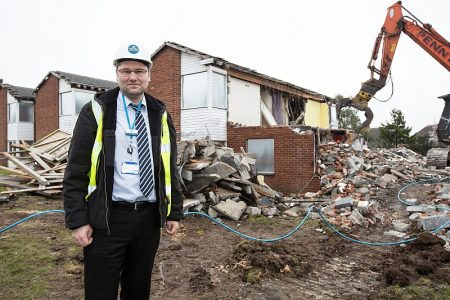 Demolition starts on Newleaze House in Filton - a Merlin Housing Society development.
