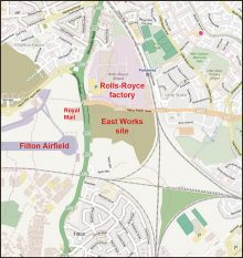Location of the currently vacant Rolls-Royce East Works site in north Bristol.