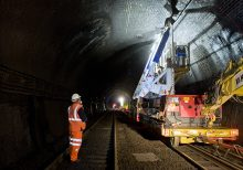 Severn Tunnel electrification drilling work.