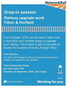 Poster advertising a drop-in session for railway upgrade work in Filton and Horfield.