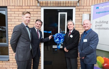 Official opening of Knightstone Housing Association's new homes at Rectory Lane, Filton. L-r: Cllr Ben Stokes (South Gloucestershire Council), Jack Lopresti (MP for Filton and Bradley Stoke), Nick Medhurst (chair of the board at Knightstone) and Steve Roberts (contracts manager at Speller Metcalfe).
