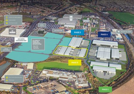 Aerial view of the proposed Horizon38 industrial/distribution and commercial development on the former Rolls-Royce East Works site in north Bristol.
