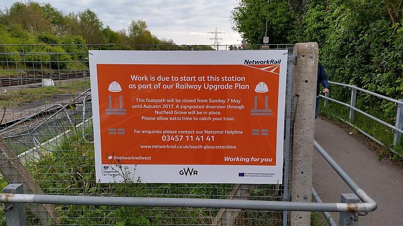 Sign warning of footpath closure at Filton Abbey Wood Station.