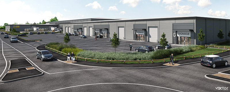 Artist's impression of the trade counter terrace (building F1) at Horizon 38.
