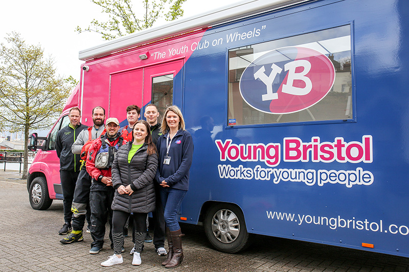 Photo of staff from Village Hotel Club Bristol helping out at the Young Bristol youth work charity.