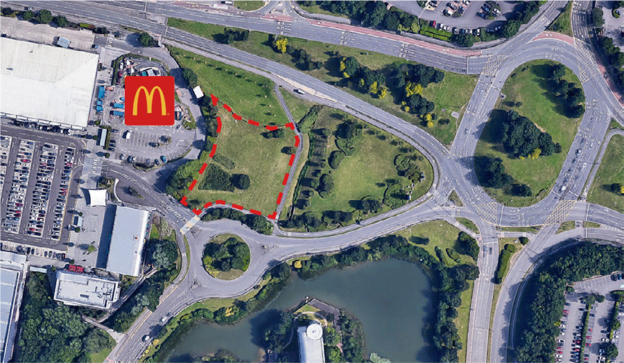 Image: Aerial view showing site of proposed Travelodge hotel and Greggs drive-through unit.