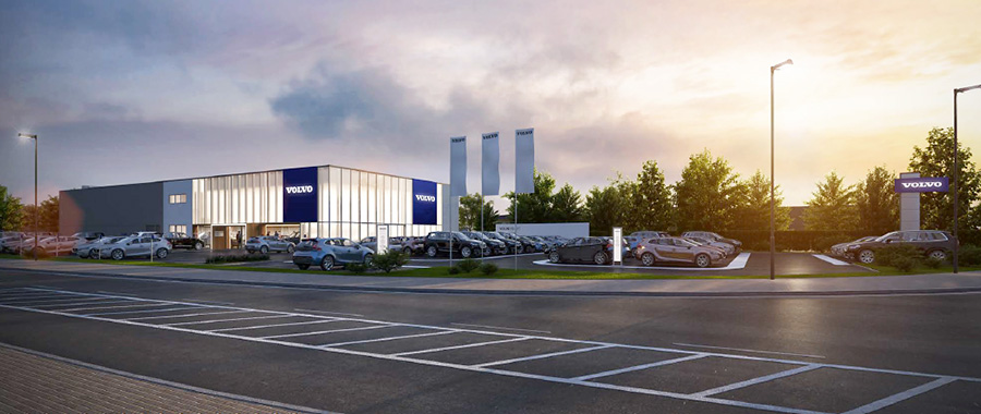 Visualisation of the proposed Volvo car dealership on the Horizon 38 business park.