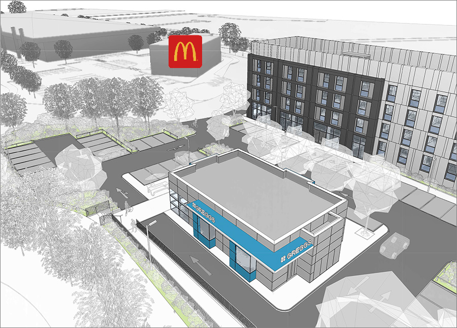 Visualisation of proposed Travelodge hotel and Greggs drive-through unit.