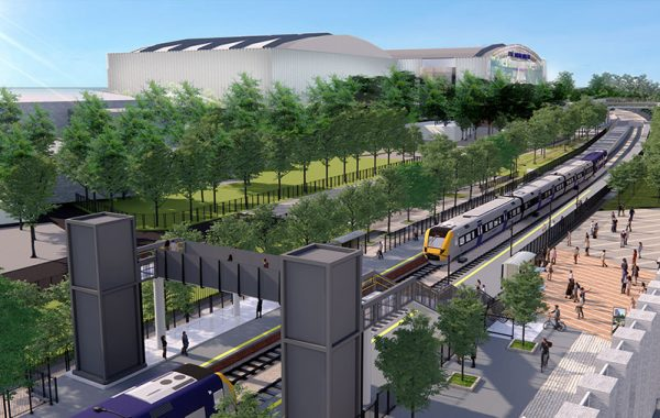 Visualisation of a proposed railway station.